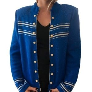 ST. JOHN COLLECTION BLUE BLAZER ZIP SUIT JACKET